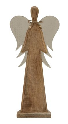 "Simply Classic Wood Metal Angel 9""W, 21""H"