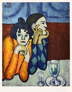 View details of Pablo Picasso Les Deux Saltimbanques: l'Arlequin et Sa Compagne (The Two Saltimbanques: The Harlequin and His Companion) c.1960 for sale.
