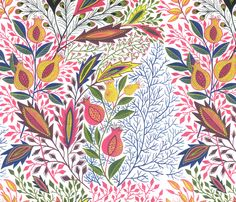 Pomegranate fabric by eva_the_hun on Spoonflower - perfect for a girl's room.