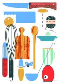 60 ideas for kitchen utensils illustration food Art And Illustration, Food Illustrations, Graphic Design Illustration, Vintage Baking, Silkscreen, Graphic Design Inspiration, Food Art, Tumblr, Drawings