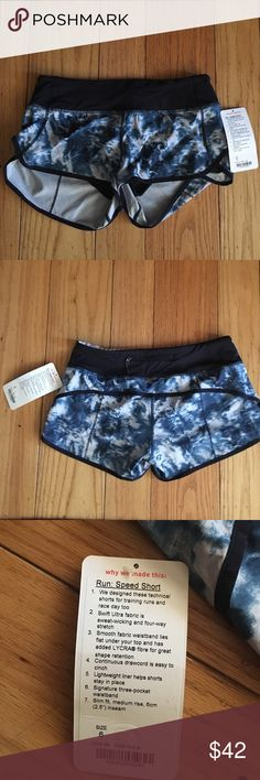 Lululemon Run Speed Short Blue Tie-Dye Lululemon shorts never been worn. Still with packaging and tags on. lululemon athletica Shorts