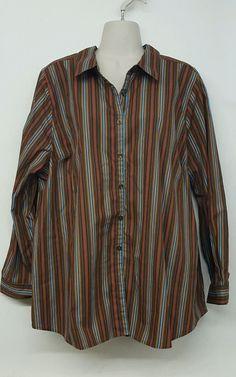 ROAMANS Brown stripe Button Down BLOUSE Long Sleeve shirt Plus size 20w 2x #Roamans #Blouse