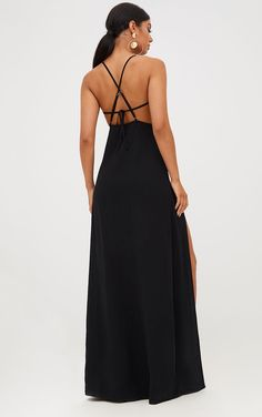 black maxi dress Black Strappy Back Detail Chiffon Maxi Dress Featuring a a black chiffon material, a strappy back design with adjustable straps and sultry thigh high split - this max Chiffon Maxi Dress, Floral Maxi Dress, Maxi Dresses, Bridesmaid Dresses, Wedding Dress Bustle, Short Beach Dresses, Affordable Prom Dresses, Beautiful Gowns, Evening Dresses