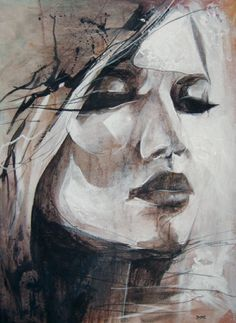 The artist who painted this picture uses the background to create the profile of the face of the woman using only white and black colors.