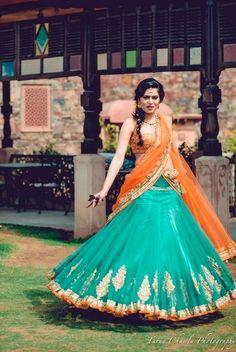 Looking for turquoise and orange mehendi lehenga? Browse of latest bridal photos, lehenga & jewelry designs, decor ideas, etc. Indian Attire, Indian Ethnic Wear, Indian Dresses, Indian Outfits, Ethnic Fashion, Indian Fashion, Orange Lehenga, Bollywood, Lehnga Dress