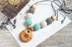 Teething Necklace With Maple Pendant - Nursing necklace - Natural Jewelry - Baby Shower Gift - Grey Cream Blue necklace