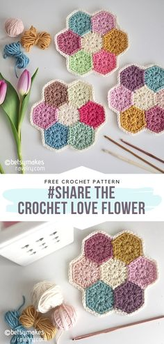 Free Pattern A simple hexagon pattern is a great starting point for beginners who want to create something pretty! This one, designed by an author committed to… Bag Crochet, Manta Crochet, Cute Crochet, Crochet Crafts, Yarn Crafts, Crochet Baby, Crochet Projects, Crochet Squares Afghan, Crochet Blocks