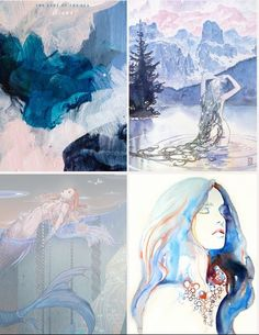 "Silmarillion aesthetic meme | Uinen, the Lady of the Sea     ""Her hair lies spread throughout all waters, and her love is given to the creatures that live in salt streams and also the weeds that grow there.""  Credit to artists: Patricia Vargas, Milo Manara, 晃子丶 and Cate Parr."