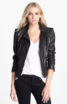 Laundry by Shelli Segal Leather Moto Jacket (Online Only) available at #Nordstrom