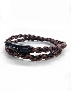 Hand braided brown leather and cord double wrap bracelet