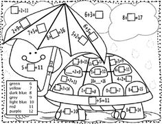 Fun Spring color-by-number activities for practicing basic addition and subtraction facts. This work is licensed under a Creative Commons Attribution-NoDerivs Unported License. 1st Grade Math, First Grade, Math Coloring Worksheets, Number Activities, Math For Kids, Addition And Subtraction, Spring Colors, Coloring Pages, Homeschool