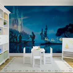 Giant Size Paper Wallpaper Mural Disney Castle View For Girlu0027s Room Walls.  Express And Worldwide Part 89