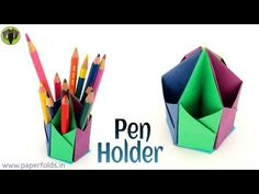 "Craft tutorial to make a Paper Hexagonal Pen. This Video Tutorial teaches you to make a Paper ""Hexagonal Pen Pencil Holder"". This model is quite useful and can be used at your Study table. We can use different Paper sizes Origami Design, Diy Origami, Gato Origami, Origami Paper Folding, Origami And Kirigami, Paper Crafts Origami, Origami Stars, Oragami, Dollar Origami"