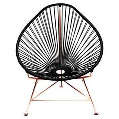 Curator's Note: This iconic accent chair's modern silhouette takes inspiration from traditional Mayan hammock weaving for a look that's simply chic and endlessly versatile. I'd love it draped with a sheepskin throw for a cool, retro vibe, or set on the deck for sipping Mai Tais poolside.   Product: ChairConstruction Material: Powder-coated steel and vinyl cordColor: BlackFeatures:  Suitable for indoor and outdoor useTripod baseRust and fade resistant Durable UV protected Weatherproof ...