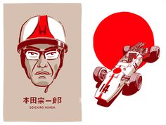 Soichiro Honda, Old Race Cars, Auto Racing, Custom Art, Formula 1, Caricature, Automobile, Illustration Art, Posters