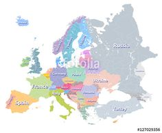 ベクター: Europe vector high detailed colourful political map with regions borders and countries names. All elements separated in detachable layers点