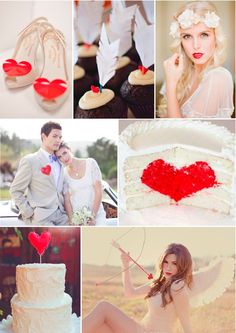 Hearts and Arrows Inspiration Board ~ inspired by Valentine's Day. A heart themed wedding is chic and kitsch while red & white is always a winner in my book!