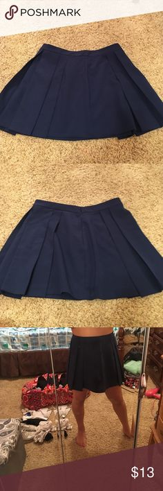 High waisted blue skirt Forever21 high waisted blue skirt. Size L. Probably around a size 10. I'm 5'2 and it's a little long but with heels it's a good length. Forever 21 Skirts Midi