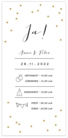 Elongated wedding card with confetti in gold Wedding Wishes, Wedding Bells, Wedding Cards, Our Wedding, Wedding Ideas, Wedding Graphics, Wedding Invitation Wording, Invites, Save The Date
