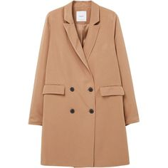 Double-Breasted Blazer ($39) ❤ liked on Polyvore featuring outerwear, jackets, blazers, blazer, long sleeve jacket, mango blazer, beige blazer, mango jackets and fleece-lined jackets