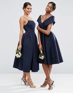 Image 3 of ASOS WEDDING Scuba Off The Shoulder Midi Prom Dress