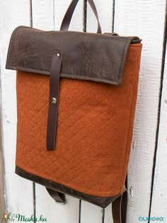 56d6f373de24 NINOX kollekció - téglaszínű anyagában steppelt szövet-barna bőr hátizsák,  Minimál hátizsák (buboxa