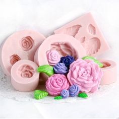 Rose Silicone Mold Set of 5  Fondant Molds  Gum by MoldMeShapeMe, $28.00