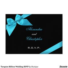 Turquise Ribbon Wedding RSVP