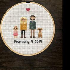 Anniversary Gift Cross Stitch Family Portrait Then and Now Cotton Anniversary Gift Wedding Couple Linen Anniversary Present for Her Gift for Cotton Anniversary Gifts, Anniversary Gifts For Couples, 2nd Anniversary, Homemade Wedding Gifts, Homemade Anniversary Gifts, Cross Stitch Family, Gifts For Wife, Couple Gifts, Presents For Her