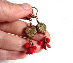 Rustic and red dangle earrings wirewrapped by TinyOrchidsJewelry, $29.00