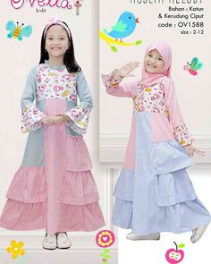 Stylish Dresses For Girls, Girls Spring Dresses, Kids Outfits Girls, Girl Outfits, Kids Abaya, Girls Party Wear, Dress Anak, Muslim Dress, Baby Dress