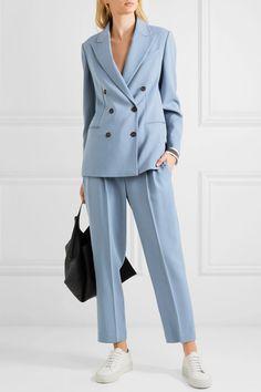 Cornflower-blue wool-blend Button fastenings through double-breasted front virgin wool, viscose; Brunello Cucinelli, Blue Wool, Bleu Marine, Office Outfits, Suits For Women, Wool Blend, Work Wear, Womens Fashion, Cheap Fashion