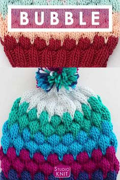 Bubble Stitch Beanie Hat Knitting Pattern by Studio Knit. Enjoy this fun Bubble Stitch Beanie Hat with Knitting Pattern and video tutorial by Studio Knit. Rib Stitch Knitting, Knitting Socks, Loom Knitting, Knitting Patterns Free, Free Knitting, Knitted Hats, Crochet Patterns, Crochet Hats, Hat Patterns