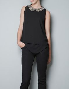 TOP WITH DIAMANTE COLLAR - Shirts - TRF - ZARA