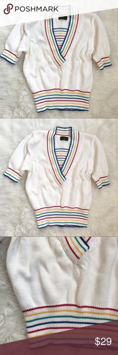 "Vintage Abercrombie & Fitch Rainbow Sweater Vintage Abercrombie & Fitch Rainbow Sweater. 100% cotton. Size medium. Half sleeve. Unstretched measurements. 38"" bust. 24"" long. Good condition Abercrombie & Fitch Sweaters"