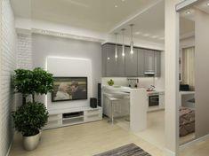 Стильная перепланировка квартиры 45 квадратных метров