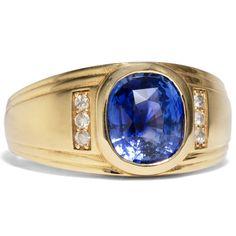 - Vintage Goldring mit unbehandeltem Saphir & Diamanten, Tschechien um 2000 von Hofer Antikschmuck aus Berlin // #hoferantikschmuck #antik #schmuck # #antique #jewellery #jewelry // www.hofer-antikschmuck.de (21-1263) Vintage Jewelry, Sapphire, Gold Rings, Antique Jewelry, Vintage Jewellery, Antique Jewellery