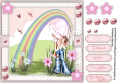 - A lovely card with a girl dreaming of Somewhere Over The Rainbow has 4 greeting tags and a blank one Valentine Wishes, Birthday Wishes, Princess Birthday, Girl Birthday, Big Cupcake, Somewhere Over, Quick Cards, Over The Rainbow, Girls Dream