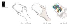 Design evolution of a hand holding a mobile phone: from hand drawn sketch to digital colour, then to polygon effect created with Illustrator - by Startled Squid Design Group.