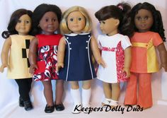 KeepersDollyDuds 1960s pattern proof outfits. Made to fit American Girl Dolls