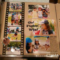 運動会のページ* - 毎日楽しくアルバム作り* Soccer Books, Diy And Crafts, Paper Crafts, Photo Layouts, Creative Memories, Album Design, Photo Journal, Journal Inspiration, Photo Book