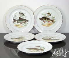 Set of five 5 Vintage French Porcelain Fish by BeauChateauBoutique