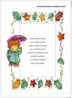Spanish poem about fall. Good for learning about seasons in Spanish. Poemas y… Dual Language Classroom, Bilingual Classroom, Kindergarten Language Arts, Bilingual Education, Spanish Classroom, Preschool Poems, Fall Preschool Activities, Spanish Activities, Infant Activities