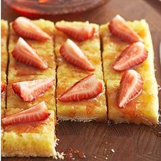 Strawberry-Lemon Bars Topped with lemon-infused strawberry jelly and plump ripe strawberries, these gooey lemon bars are perfect for fruit-lovers. At 115 calories a pop, saying no is totally unnecessary.