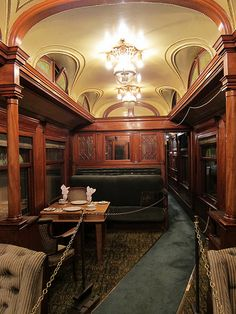 brjudge:    An old Pullman dining car. The height of luxury travel at one time, compared to train travel now this might as well be a spaceship for the king of Mars.