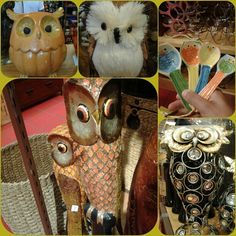 Pier 1 Owls including Owl Measuring Spoon Set and Wooden Mosaic Owls