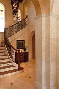 Douglas Design Studio - Interior Designer - Toronto - Traditional - American Country - Mediterranean - Tuscan - Staircase - Hallway - Columns - Tiles - Neutrals - Lighting