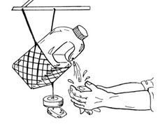 Line drawing shows a tipping plastic jug of water hanging in a net from a support above it, with a pair of hands washing under water drippin...