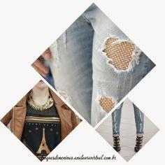 Calça rasgada com pedraria e mais inspirações de looks Accessories, Fashion, Brown Colors, Fall Winter, Trends, Moda, Fashion Styles, Fashion Illustrations, Jewelry Accessories