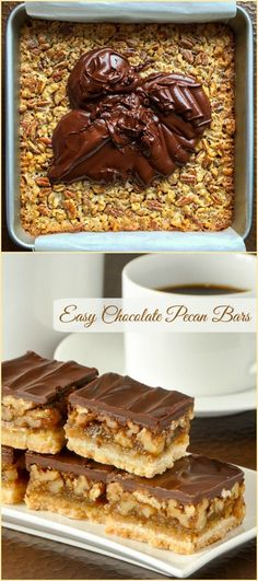 Chocolate Pecan Bars - a variation on our very popular pecan pie bars, with a little less filling but even more nuts, all topped off with a decadent chocolate top layer.